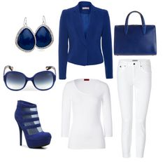 White And Blue Set,  Instead of the white pants you can match it with a white skirt, a simple orange or black scarf to give it a little pop.     Just an idea.