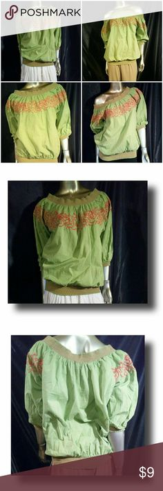 Lime colored blouse Lime colored blouse with orange accents by Mix Nouveau. This top can be worn with with khakis, denim jeans or a nice maxi skirt.  DETAILS: Size: XL  Minor abrasion in threading under left armpit. This is a slight damage.There are no other damages to garment.  100% cotton Hand wash on cold This top says it's an XL in sizing but it runs smaller.  This top fits more snug than the usual XL. Mix Nouveau Tops
