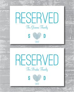 "Reserved for Family Signs 5x7"" DIY Wedding Posters Printable"