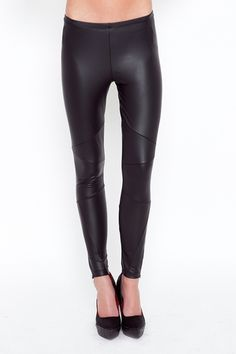 leggings featuring side zipper detail and faux leather paneling - i would love to pretend i could pull this off