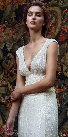 lihi hod bridal 2016 mia cap sleeve beaded v neck wedding dress bodice zoom -- Lihi Hod Bridal 2016 Wedding Dresses