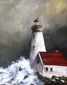 Lighthouse PRINT of Original Acrylic Painting Simple Oil Painting, Acrylic Painting For Beginners, Simple Acrylic Paintings, Beginner Painting, Easy Paintings, Painting Techniques, Oil Paintings, Acrylic Painting Inspiration, Painting Videos