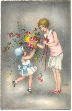 Mère Enfant Fleurs Sign Hannes Petersen Environ 30ER ANS   eBay