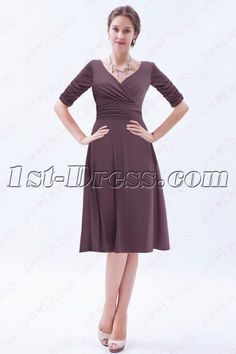 aee5d90f70b 1st-dress.com Offers High Quality Modest Brown Middle Sleeves Short Prom  Gown