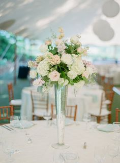 Tall pastel wedding centerpiece (Photo by Michael & Carina Photography)