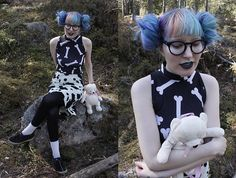 Get this look: http://lb.nu/look/8696731  More looks by Lindwormmm: http://lb.nu/lindwormmm  Items in this look:  Bones Print Bodycon Dress, United Colors Of Benetton Cow Print Skirt, Black Tights, White Socks, Adidas Black Sneakers, Round Glasses, Thrifted Teddy Backpack   #artistic #edgy #street #witch #cute #blackwhite #fun #fairytale #printonprint