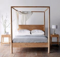Himalaya Bed Teak NATURAL Four-post Bed Australian King Size