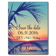 Tropical Beach Aruba Destination Save The Date Postcards - Sold, thanks to the customer in MN #tropicaldestinationwedding #tropicalsavethedate #zazzle