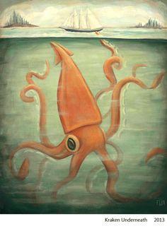 """From Emily Winfield Martin's (aka Emily Apple's) Portfolio, """"Kraken Underneath"""" 2013."""