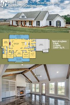 Architectural Designs House Plan gives you one-level modern farmhouse living with 4 beds, baths and over sq. of heated living space. Design one floor Plan One Level Country House Plan Barn House Plans, New House Plans, Dream House Plans, One Level House Plans, Country House Plans, Dream Houses, Four Bedroom House Plans, Square House Floor Plans, Open Floor Plans