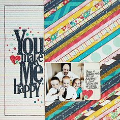 By using a smaller print pattern under the title and using a strong clear photo on top of the busy background all of the elements in this layout can clearly be seen.