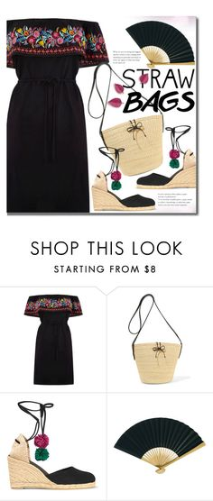 """""""Carry On: Straw Bags"""" by beebeely-look on Polyvore featuring Oasis, Sensi Studio, Castañer, Cultural Intrigue, Summer, blackdress, strawbags and polyvorecontest"""