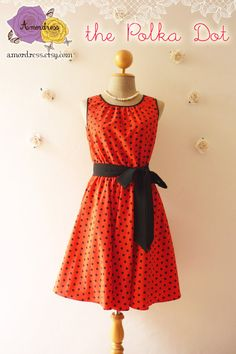 The Polka Dot Dress Sweet Red Dress with Black Polka Dot Swing Party Dress Wedding Day Dress Tea Dress Vintage Inspired Design -Size S-M- on Etsy, $45.00