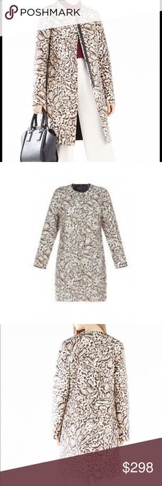 BCBGMAXAZRIA mickie ocelot faux-fur coat Glamorous statement coat: faux-fur leopard print with front zipper closure. Made of Nylon faux pony hair with polyester faux leather trim and Cotton poplin lining. Measures approx. 38.75 in. from shoulder to hem, hits above the knees. Dry clean. BCBGMaxAzria Jackets & Coats Trench Coats