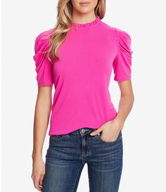 From CeCe&& this top features& mock neckShort puff sleevesstraight hemline hook back keyhole closure polyester& washImported& Hot Pink Tops, Crepe Top, Ruffle Sleeve, Shirt Blouses, Women's Shirts, Fitness Fashion, Fall Outfits, Casual Outfits, Nordstrom