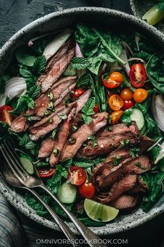 For a cool and refreshing summer dinner, Thai beef salad gives you robust flavors and a mixture of tender beef and fresh produce for an all-in-one meal. {Gluten-Free} Best Salad Recipes, Indian Food Recipes, Asian Recipes, Healthy Recipes, Ethnic Recipes, Asian Foods, Chinese Recipes, Amazing Recipes, Drink Recipes