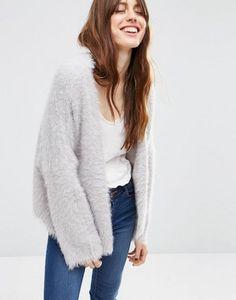 ASOS | ASOS Cropped Cardigan in Fluffy Yarn