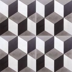Carreau de ciment sol et mur blanc et noir 3d l.20 x L.20 cm