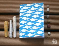 Notebook A6 - Underwater Secrets - Shell Blue Pattern  - Handmade - Illustration - Blank 120gr Paper - Nuts for Paper