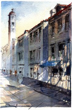 watercolor on Arches rough paper Watercolor Drawing, Watercolor Landscape, Watercolor Paintings, Painting & Drawing, Watercolours, Watercolor Architecture, Art And Architecture, Urban Sketching, Art Drawings