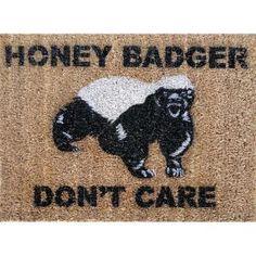 Honey Badger Don\'t Care Doormat under 50 by damngooddoormats