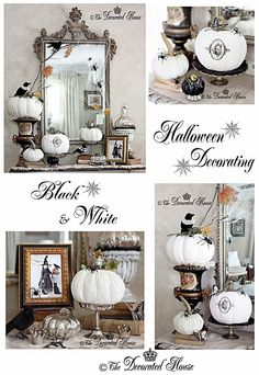 The Decorated House: ~ Halloween Decor :: Vintage  Black White Silver Crow Black Bird Pumpkin Gothic