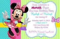 Minnie Mouse Invitation for Birthday, Aqua, Purple, pink, and lime green invite, JPG Printable invitation Minnie Mouse Birthday Decorations