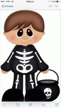 Silhouette Design Store - View Design skeleton boy trick or treater pnc Dulceros Halloween, Halloween Painting, Halloween Clipart, Halloween Prints, Halloween Pictures, Halloween Coloring, Halloween Cookies, Holidays Halloween, Halloween Decorations