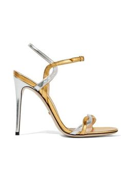 Heel measures approximately 110mm/ 4.5 inches Gold and silver leather Buckle-fastening ankle strap Made in Italy