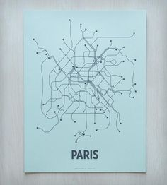 Paris Transit Screen Print - Light Blue by Line Posters  on Scoutmob Shoppe