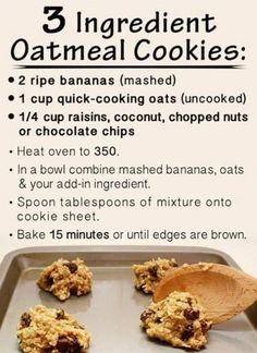 Easy Healthy Cookie Recipes With Few Ingredients.The Best Soft Chocolate Chip Cookies Recipe Pinch Of Yum. Crpes Recipe Joyofbaking Com *Video Recipe*. How To Make Oatmeal Cookies : Food Network Recipes . Healthy Cookies, Healthy Sweets, Healthy Baking, Healthy Oatmeal Raisin Cookies, Eating Healthy, Healthy Cookie Recipes, Diabetic Desserts, Healthy Breakfasts, Cookies With Bananas