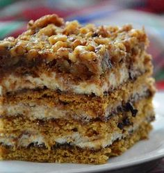 Dziś proponuję Wam miodownik z orzechami. Jest to ciasto miodowe przełożone . Today I offer you a gingerbread with nuts. This is a honey cake with walnuts - lots of it! Baking Recipes, Cookie Recipes, Dessert Recipes, Lemon Cheesecake Recipes, Homemade Cakes, Food Cakes, Coffee Cake, Polish Desserts, Sweet Recipes