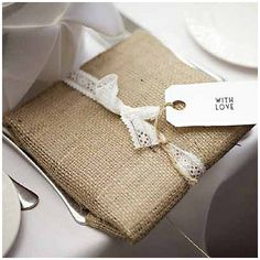 40+ Hessian Wedding Ideas - use hessian fabric instead of gift wrapping paper for rustic wedding gifts #weddingideas #hessianwedding #rusticweddingideas