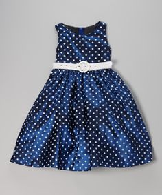 Navy Polka Dot Belted Dress - Toddler & Girls | Daily deals for moms, babies and kids