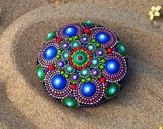 Mandala Stone hand painted, Rock Decor, Natural Sea Stone, acrylic paint, home boho decor