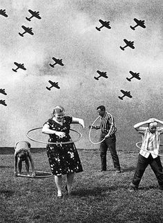 Hula hoops | planes | history | play | free | old photo | vintage | let go | black & white