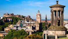 edinburgh city and castle scotland viewed from calton hill on a beautiful summer morning with the dugald stewart monument in the foreground scott monument and balmoral clock tower in background. Glasgow, Edinburgh City, Edinburgh Castle, Edinburgh Scotland, Lago Ness, Scott Monument, Scotland Castles, City Break, Best Cities