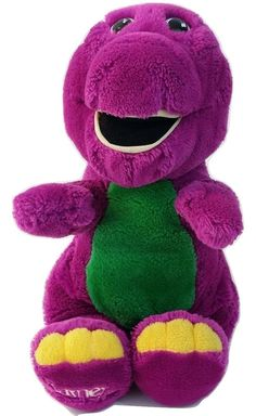 "Barney The Purple Dinosaur 14"" Plush Doll Lyons Group 1992 Golden Bear Company #ColecoOriginalAppalachianArtworks"