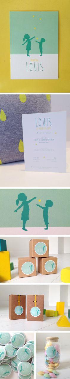 Geboortekaartje Louis. Doopsuiker, geel, groen, silhouette,