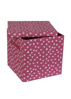 Collapsible Lidded Heart Print Storage Box (33cm x 33cm x 31cm) - Matalan  Think these would fit the Expedit shelves from Ikea!