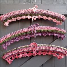 3 crochet covered coat hangers - country cottage