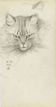 Joseph Edward Southall (British, 1861-1944) - Pencil drawing of a cat (25 December 1927)
