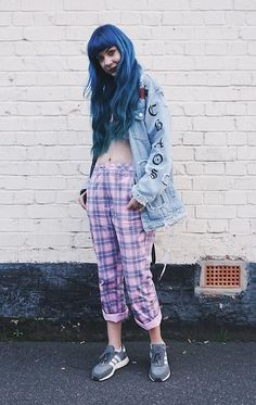 Oversized denim jacket with crop top, pastel tartan plaid trousers & sneakers by zoelondondj - #grunge #fashion #alternative