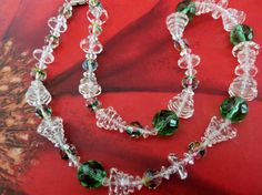 Christmas Holiday Necklace with Faceted Rainbow Glass Green and Clear Rondelle Vintage Crystal Beads