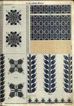 "Ie Muscel (Romania) - grup FB ""Semne cusute in actiune"". Crewel Embroidery, Embroidery Patterns, Cross Stitch Patterns, Knitting Patterns, Learn Embroidery, Cross Stitching, Beading Patterns, Blackwork, Needlework"