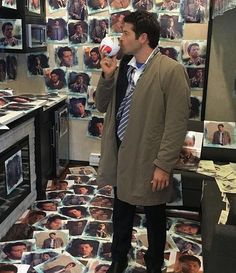 Spn tape ball with Misha in a room wallpapered in photos of Cas. It doesn't get much weirder than that