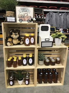 Displaying your honey at shows 10x10 booth design @amodestfarmerswife on Instagram