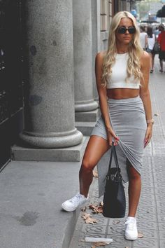 Imso Grey High And Low Asymmetrical Drape Mini Skirt
