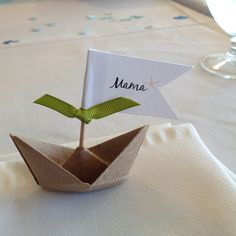 Origami boat place card. Green ribbon for veggie/ meal choice.