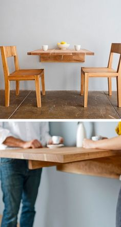 wall-mounted dining table - useful idea, but more than that...really cute!